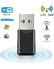 Adattatore WLAN, WiFi Stick 1200 Mbps, Dual Band (2,4 GHz / 300 Mbps + 5,8 GHz / 867 Mbps) con antenna ad alto guadagno 802.11 ac / a / b / g / n, chiavetta USB wireless compatibile con Mac OS, Win10 / 8.1 / 8 / 7 / Vista / XP