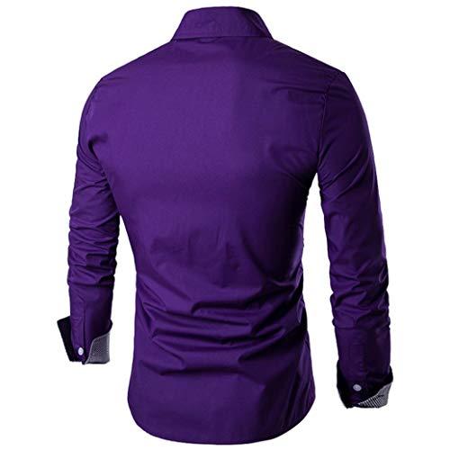 Imprimer Manches Chemise Décolleté Blouse Mode Mince Violet Nouveau Homme Automne Casual shirt Maillot Outwear T Cebbay Col Costume Haut D'affaires Longues Polo 8wzq4zx