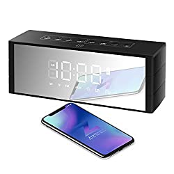 Bluetooth Speaker Dual Driver, ZealSound Wireless Bluetooth Speaker with LED Clock, LED Display with Dimmer, FM Radio, Alarm Clock, Portable Wireless, Rich Bass, Built-in Mic, TF Card Play (Black)