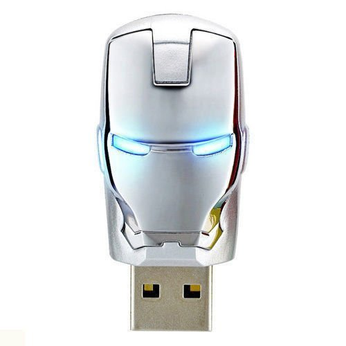 HIVAGI Iron Man Super Hero Face Pen Drive with Glowing Eyes (32 GB, Silver)