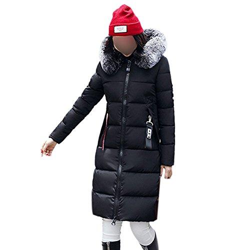 Acolchada Sintética Hzjundasi Invierno Chaqueta Niñas Collar Outwear Mujeres Parka Larga De Negro Con Piel Capucha Abrigo RRqPXx