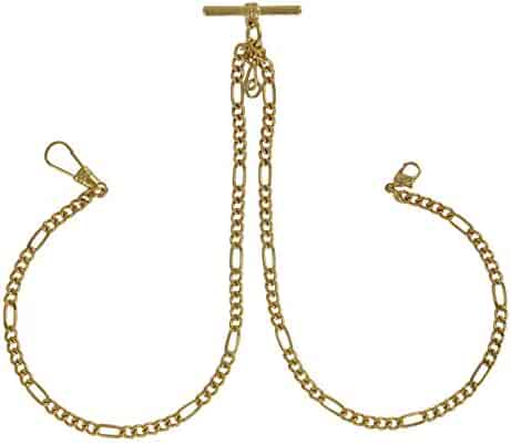 Pocket Watch Figaro Chain Mens Gold Tone Double Albert Fob 9