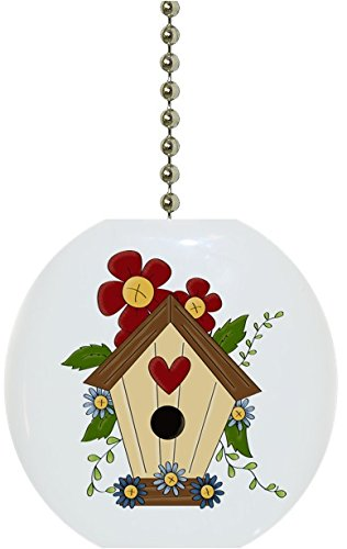 Carolina Hardware and Decor 1936F Birdhouse Flower Floral Country Solid Ceramic Fan Pull by Carolina Hardware and Decor