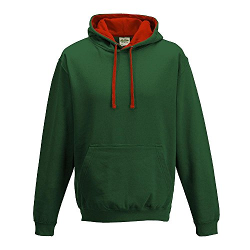 Just Hoods Varsity - Sudadera unisex con capucha, dos colores verde - Bottle Green/Fire Red
