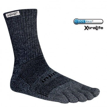 Injinji Unisex Trail Midweight Crew Xtralife Socks Large Granite