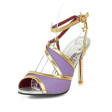 LvYuan Mujer-Tacón Stiletto-Innovador Zapatos del club-Sandalias-Boda Oficina y Trabajo Informal-Purpurina Materiales Personalizados-Negro Azul Black