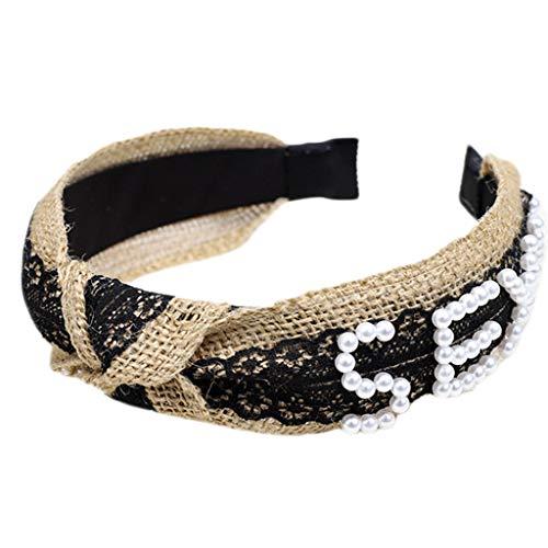 RingBuu - Hair Hoop, Women, Handmade Woven Wide Headband, Colored Floral, Lace Splicing Hair Hoop, Imitation Pearl Beaded, Letters, Twist Knotted Headwear