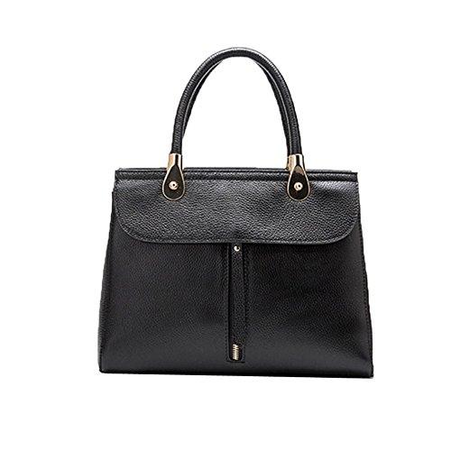 Leather Bag Handbags Women's Capacity Top Handle Large Totes Shoulder Black Vintage TqqYx5p