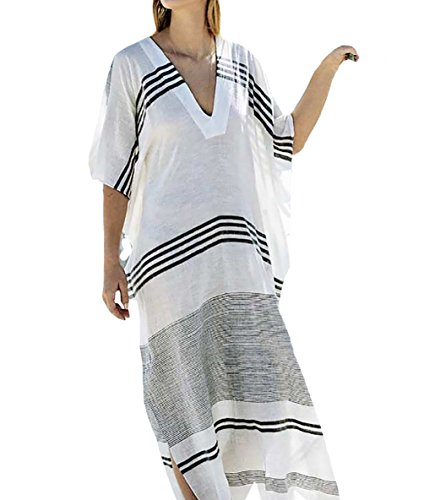 (Bestyou Women's Print Rayon Kimono Cardigan Swimsuit Cover up Tunic Tops Swimwear (Stripe))
