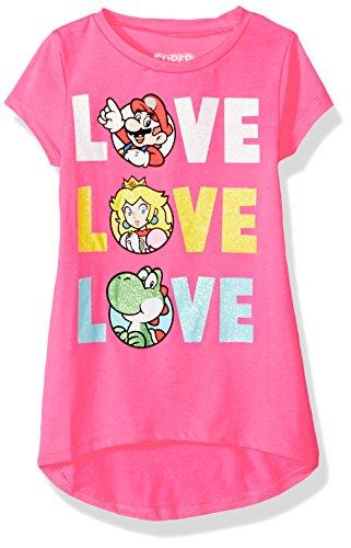 Nintendo Girls' Big Mario, Princess Peach, Yoshi Triple Love in Glitter, neon Pink, 10/12 ()
