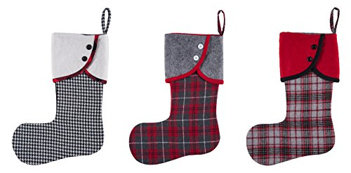 18 inch Red and Gray Plaid with Button Cuff Trim Plush Christmas Stocking Set of -