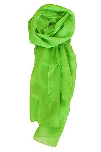 Neon Silk - Chicastic Neon Green Solid Colors Silk Chiffon Scarf Wrap Stole Shawl