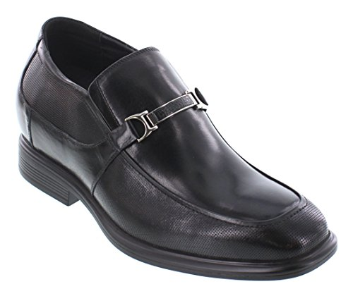 CALTO Y3107-3 inches Taller - Height Increasing Elevator Shoes - Black Leather Slip-on Dress Shoes av4mLg74H