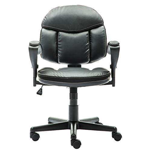 Irene House Comfortable Adult Teen's Swivel Adjustable PU Desk Chair,Ergonomic Mid-Back Student Computer Task Chair,Medium Adult's Home Office Chair(Black) by Irene House (Image #1)'