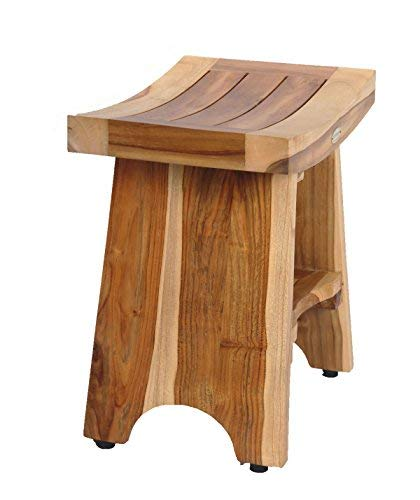 Earthy Teak Patented - Fully Assembled - Eastern Style Serenity With Shelf 18''- Shower Sitting, Storage, Shaving Foot Rest