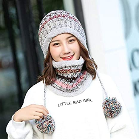 09f68e645ca Amazon.com   2019 Winter Knitted Hat Women Scarf Caps Mask Gorras Bonnet  Warm Baggy Winter Hats For Girls Skullies Beanies (gray color)   Everything  Else