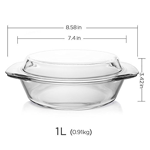 Glass Bakeware, Glencreag 1 Liter Round Clear Tempered Glass Casserole Baking Dish with Lid, Heat-resistant and Unbreakable Covered Glass Casserole