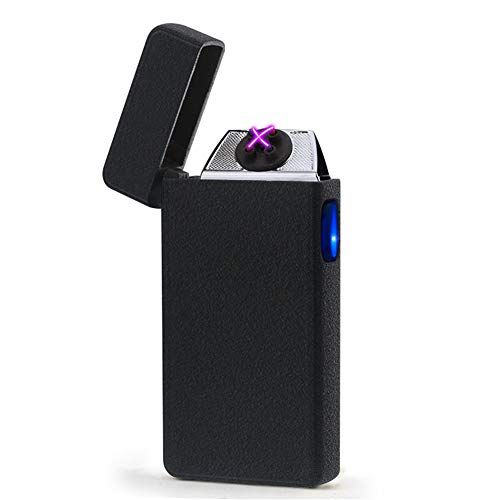 CHUANG TIAN Electronic Plasma Lighter, Ice Surface USB Double fire arc Lighter/Metal Windproof Cigar Electronic Cigarette Lighter,blackmatte