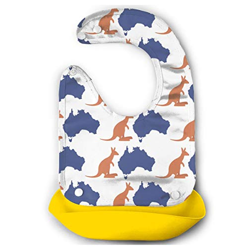 W3Zap1 Map Kangaroo Australia Waterproof Silicone Baby Bibs Easily Wipes Clean Comfortable Soft Baby Bibs Keep Stains Off (Best Baby Wipes Australia)
