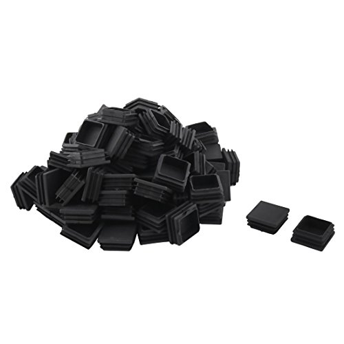 uxcell Plastic Square Design Tube Insert End Blanking Cover Cap 38 x 38mm 100pcs Black Blanking Cover