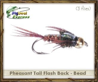 (Fly Fishing Flies - PHEASANT TAIL FLASH BACK BEADHEAD - Nymph (3-pack))