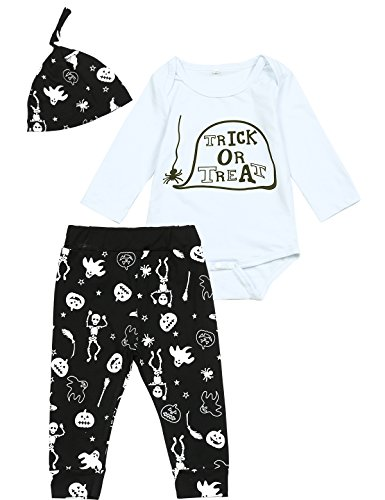 Top 10 Little Girl Halloween Costumes (3PCS Baby Boys Girls Halloween Pumpkin Costume Outfit Set Top Pants with Hat (6-12 Months))