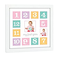 Tiny Ideas Baby's First Year Keepsake Picture Photo Frame, Pinkpurple