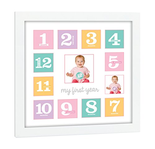 Tiny Ideas Baby's First Year Keepsake Picture Photo Frame, Pink/Purple