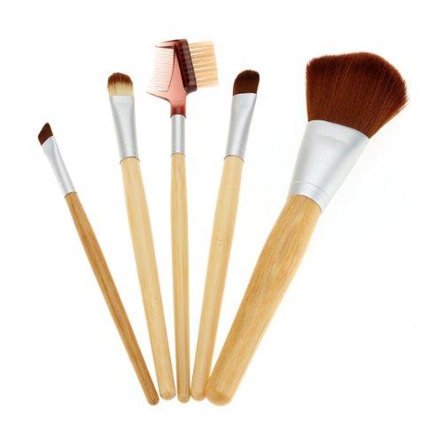 5pcs Bamboo cosmétique de maquillage Ombre à Paupières poudre pour le visage Pinceau Blush Bag Set Kit