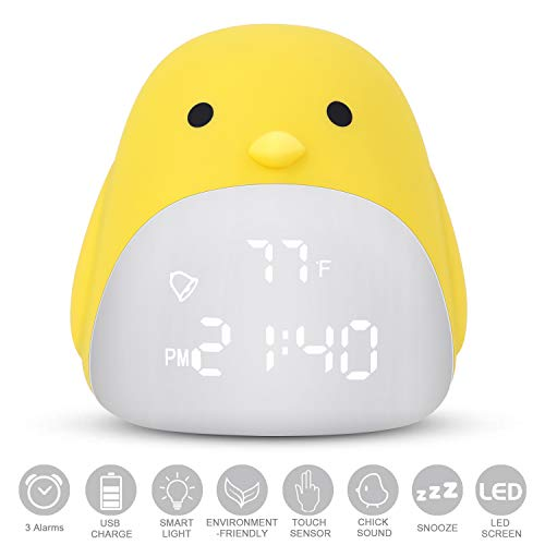 (DAYOO Kids Alarm Clock, Digital Clock for Kids, Cute Chick Alarm Clock for Girls Boys, Kids Night Light Clock with 3 Color Changing, Kids Bedroom Clock with USB Charger, Touch Control and 3 Alarms)