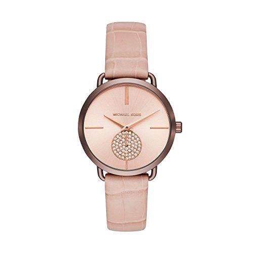 Michael Kors Women's Portia Stainless Steel Analog-Quartz Watch with Leather Calfskin Strap, Pink, 16 (Model: MK2721)