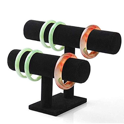 TOPOB Black Double Layer Velvet Jewelry Rack Hair Ring Storage Bracelets Necklace Frame Decoration Display