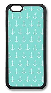 iPhone 6 Cases, Mint Green White Anchors Durable Soft Slim TPU Case Cover for iPhone 6 4.7 inch Screen (Does NOT fit iPhone 5 5S 5C 4 4s or iPhone 6 Plus 5.5 inch screen) - TPU Black