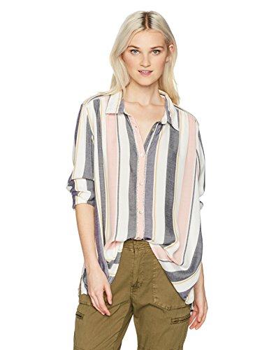 Roxy Striped Sweatshirt (Roxy Women's Romantic Path Stripe Button up Shirt, Night Shadow on The Road Stripe Vertical, XL)