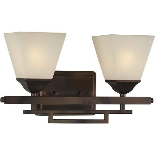 Forte Lighting 5084-02-32 Transitional 2 Light Vanity Fixture, Antique Bronze Finish with Shaded Umber Glass by Forte Lighting