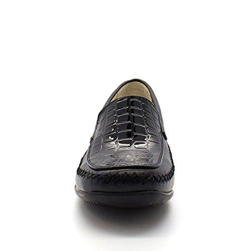 London Footwear ,  Damen Durchgängies Plateau Sandalen mit Keilabsatz Schwarz