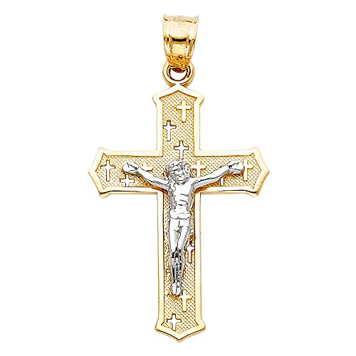 Solid 14k Yellow White Gold Cross Engraved Crucifix Pendant Jesus Charm Fancy Two Tone 30 x 19 mm