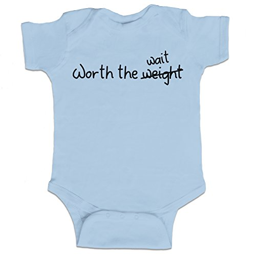 Decal Serpent Worth The Weight Wait Funny Baby Boy Bodysuit Infant – Light Blue – 6 Month