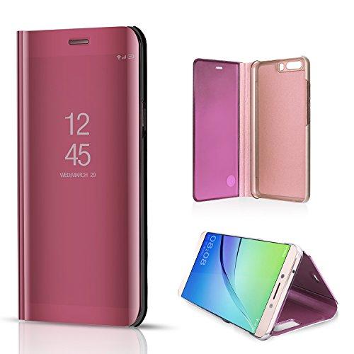 Funda Xiaomi Redmi Note 4X, Xiaomi Redmi Note 4X Mirror Flip Funda Case, PLECUPE Lujo Transparente Frente Espejo Leather Carcasa, Ultra Delgado Estilo de Libro Claro Caso Cover con Chapado Interior de Oro rosa#1