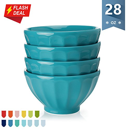 Sweese Porcelain Fluted Latte Bowl Set - 28 Ounce Stable and Deep - Microwavable Bowls for Cereal, Soup - Set of 4, Steel Blue