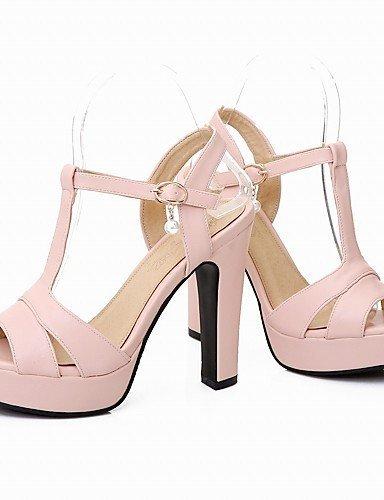 ShangYi Womens Shoe Chunky Heel Peep Toe / Platform / T-Strap Sandals Wedding / Party & Evening Beige/Green/Pink Green
