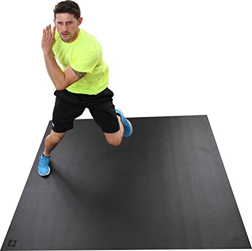 Large Exercise Mat 72'' Wide x 72'' Long (6'x6') x 6mm Thick. Comes With A Storage Bag and Storage Straps. Designed For Home-Based Fitness Routines. Durable Enough For Use With SHOES. Square36. by Square36 (Image #6)