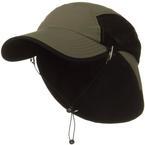 UV 50+ Talson Short Flap Cap - Olive (Mesh Flap Hat E4hats)
