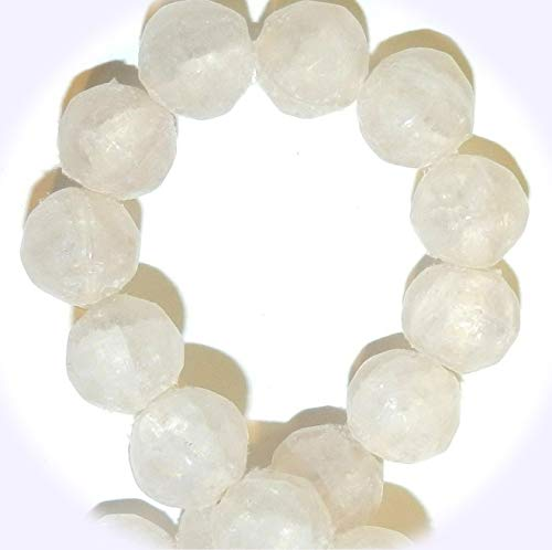 New Cream 10mm Round Nugget Frosted Crackle Glass Jewelry-Making Beads 16-inch DIY Craft Supplies for Handmade Bracelet Necklace ()