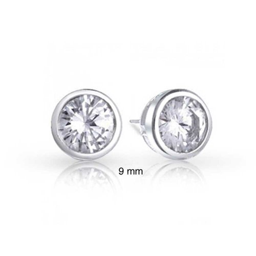 Bling Jewelry Bezel Set Round CZ Men Stud earrings 925 Sterling Silver - Bezel Earrings Round