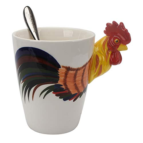 Hand Painted Coffee Mug - Novelty Funny Hand Painted Coffee Mug - Rooster 3D Handle Handmade Large 15 oz Porcelain Tea Cup Unique Ideal Gifts