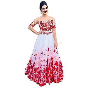 Fast Fashions Women's Net Semi-stitched Lehenga Choli (FF-5060_White_Free Size)