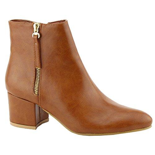 Cognac Ankle Booties Metallic Nature Block FF47 Zip Women's Pu Stacked Heel Breeze t8qxzwfqRv
