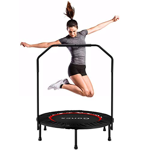 Gonex Exercise Mini Trampolines, 40 inch Foldable Rebounder Trampoline for Adults and Kids, Fitness Workout Trainer with Exercise Bands, Springs Cover Removable Handrail