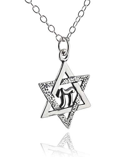 FashionJunkie4Life Sterling Silver Star of David with Chai Pendant Necklace, 18